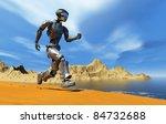 cyborg runs along the beach. | Shutterstock . vector #84732688