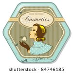 retro woman vintage cosmetics tin label - stock vector