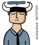 horned sad man - stock vector