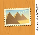 egyptian pyramids stamp - stock vector
