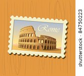 colosseum stamp - stock vector