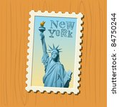 statue of liberty stamp - stock vector