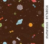 seamless cartoon space pattern   Shutterstock .eps vector #84768016