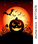 halloween night background with ... | Shutterstock .eps vector #84772678