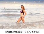 beautiful young jumping woman... | Shutterstock . vector #84775543