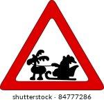 santa on traffic sign | Shutterstock .eps vector #84777286