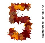 Number 5 made with autumn leaves isolated on white with clipping path. So you can easily cut it out and place over the top of a design. Find others symbols in our portfolio to compose your own words. - stock photo