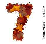 Number 7 made with autumn leaves. Isolated on white with clipping path, so you can easily cut it out and place over the top of a design. Find others symbols in our portfolio to compose your own words. - stock photo