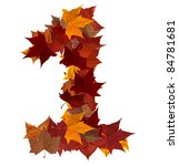 Number 1 made with autumn leaves. Isolated on white with clipping path, so you can easily cut it out and place over the top of a design. Find others symbols in our portfolio to compose your own words. - stock photo