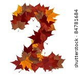 Number 2 made with autumn leaves isolated on white with clipping path. So you can easily cut it out and place over the top of a design. Find others symbols in our portfolio to compose your own words. - stock photo