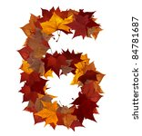 Number 6 made with autumn leaves isolated on white with clipping path. So you can easily cut it out and place over the top of a design. Find others symbols in our portfolio to compose your own words. - stock photo