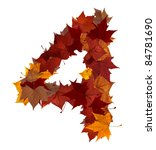 Number 4 made with autumn leaves isolated on white with clipping path. So you can easily cut it out and place over the top of a design. Find others symbols in our portfolio to compose your own words. - stock photo