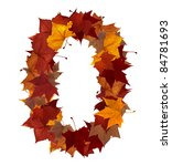 Number zero made with autumn leaves isolated on white with clipping path. So you can easily cut it out and place over the top of a design. Find others symbols in our portfolio to compose your own. - stock photo