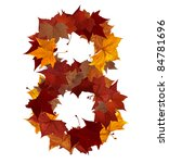 Number 8 made with autumn leaves isolated on white with clipping path, so you can easily cut it out and place over the top of a design. Find others symbols in our portfolio to compose your own words. - stock photo