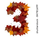 Number 3 made with autumn leaves isolated on white with clipping path. So you can easily cut it out and place over the top of a design. Find others symbols in our portfolio to compose your own words. - stock photo