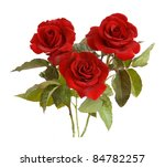 Stock photo bunch of velvet red roses isolated on white 84782257