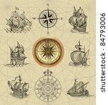 old sailboats and compass rose | Shutterstock . vector #84793006