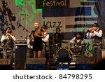 KOKTEBEL, UKRAINE - SEPT 03: Jazz band Dixie Brothers Band performing on jazz festival Jazz in Blue Bay, September 03, 2011, Koktebel, Ukraine - stock photo