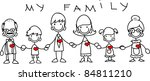 happy family holding hands and... | Shutterstock .eps vector #84811210