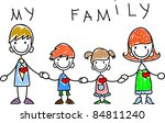 happy family holding hands and... | Shutterstock .eps vector #84811240