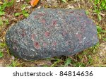 Garnet crystals embedded in a large gray rock - stock photo