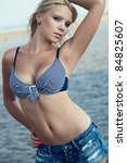 beautiful blonde woman wearing... | Shutterstock . vector #84825607