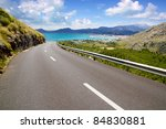 Curve Of Road In Mountain With...