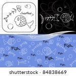 fishes  2 designs   1 pattern | Shutterstock .eps vector #84838669