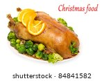 Christmas roast goose with Brussels sprouts and broccoli isolated on white - stock photo
