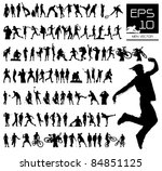 Vector set of 100 very detailed men silhouettes