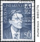 Small photo of AUSTRIA - CIRCA 1985: A stamp printed in Austria, is dedicated to the 100th anniversary of Alban Berg, composer, circa 1985