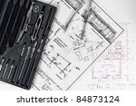construction plans with... | Shutterstock . vector #84873124