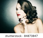 beautiful woman with evening...   Shutterstock . vector #84873847