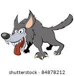 funny cartoon wolf | Shutterstock .eps vector #84878212