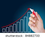 hand business show graph - stock photo