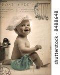 Funny kitchen   old postcard