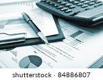 various business stuff on a... | Shutterstock . vector #84886807