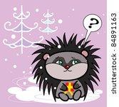 hedgehog keep a little present... | Shutterstock .eps vector #84891163