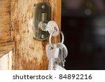 keys at the front door of the... | Shutterstock . vector #84892216