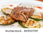 grilled steak with vegetables | Shutterstock . vector #84903709