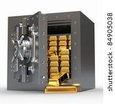 Stack Of Golden Ingots In Bank...