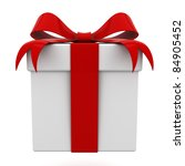 gift box with red ribbon bow... | Shutterstock . vector #84905452