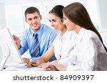 happy business people working...   Shutterstock . vector #84909397