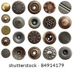 Small photo of Metal jeans buttons and rivets.