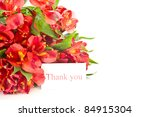 bouquet of red flowers on a white background alstroemerias - stock photo