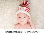 Newborn Baby In Chritstmas Hat