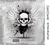 Skull With Wings Vector...