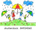 children's drawing of happy...   Shutterstock . vector #84934060