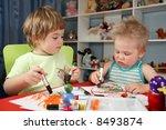 two children painting | Shutterstock . vector #8493874