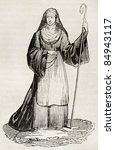 Small photo of Medieval Abbess old illustration. By unidentified author, published on Magasin Pittoresque, Paris, 1840